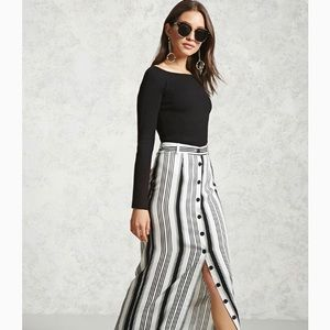 Stripe button down maxi skirt